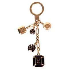 LOUIS VUITTON brown enamel & gold Keyring Keychain