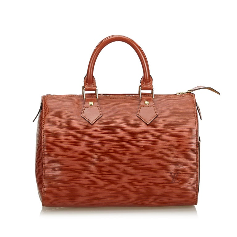 Louis Vuitton Brown Epi Leather Leather Epi Speedy 25 France In Good Condition For Sale In Orlando, FL