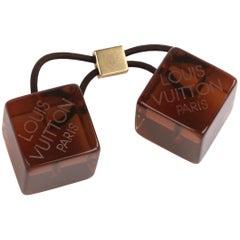 LOUIS VUITTON Brown Gold Resin Transparent Elastic Hair Cubes