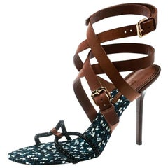 Louis Vuitton Brown Leather And Embellished Suede Ankle Strap Sandals Size 39