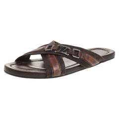Louis Vuitton Brown Leather and Fabric Criss-Cross Sandals Size 41