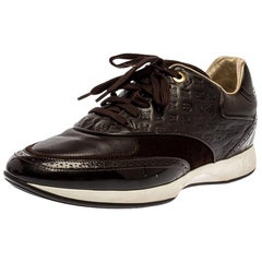 Louis Vuitton Brown Leather And Suede Monogram Sneakers Size 39