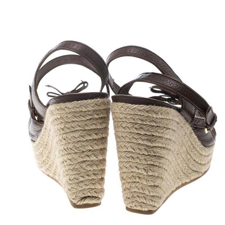 60217e312de8 Gray Louis Vuitton Brown Leather Ankle Strap Espadrilles Wedges Sandals  Size 38.5 For Sale