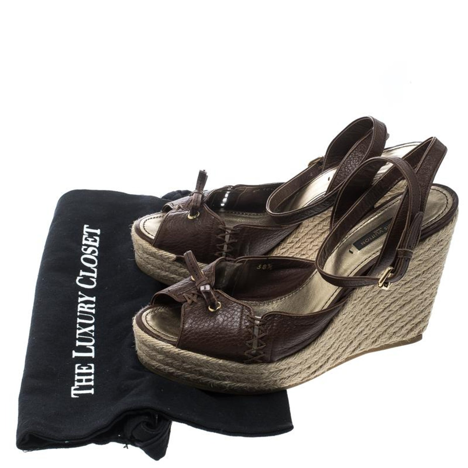 804052c3cb51 Louis Vuitton Brown Leather Ankle Strap Espadrilles Wedges Sandals Size  38.5 For Sale at 1stdibs