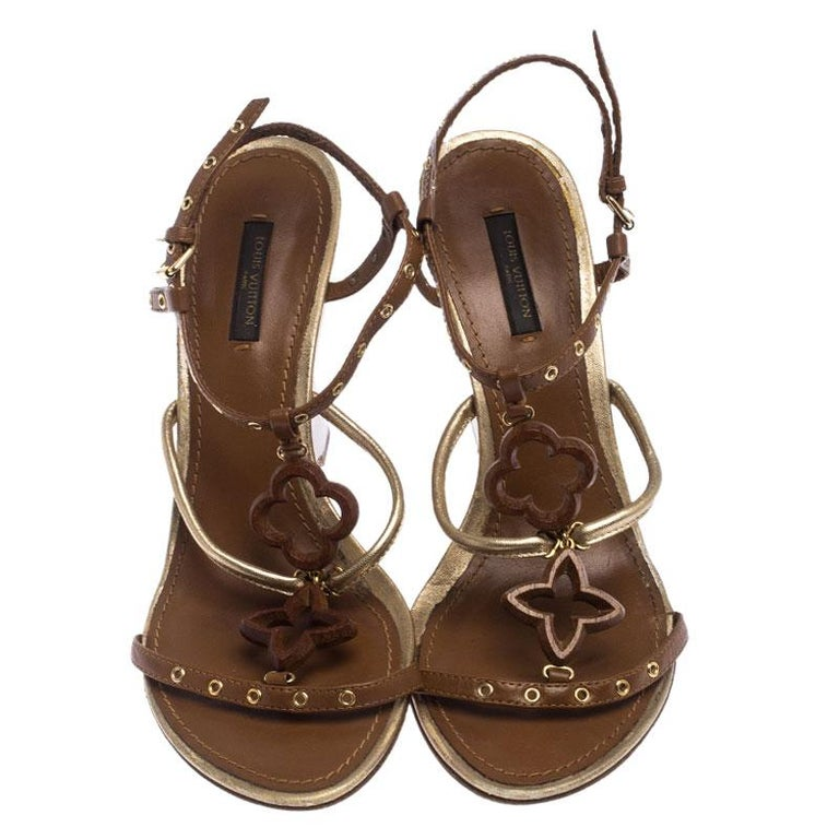 Louis Vuitton Brown Leather Eyelet T-Strap Wedge Sandals Size 39.5 In Good Condition For Sale In Dubai, Al Qouz 2
