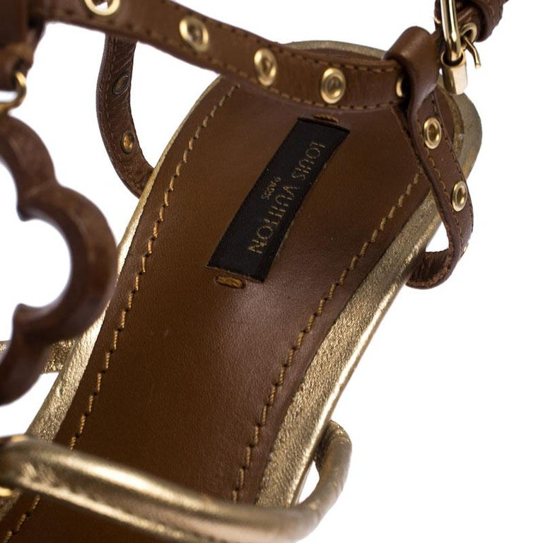 Women's Louis Vuitton Brown Leather Eyelet T-Strap Wedge Sandals Size 39.5 For Sale