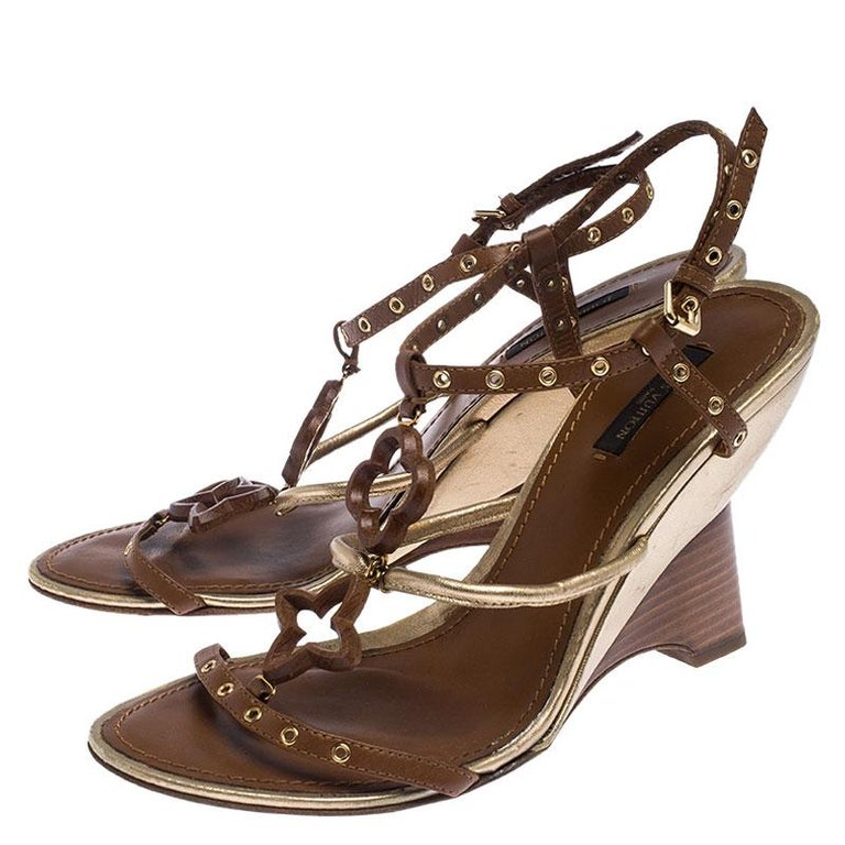 Louis Vuitton Brown Leather Eyelet T-Strap Wedge Sandals Size 39.5 For Sale 1