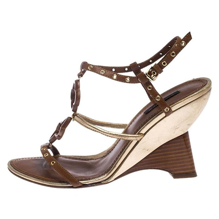Louis Vuitton Brown Leather Eyelet T-Strap Wedge Sandals Size 39.5 For Sale