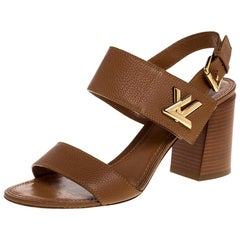 Louis Vuitton Brown Leather Horizon Slingback Sandals Size 40