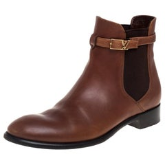 Louis Vuitton Brown Leather Loyalty Ankle Boots Size 38