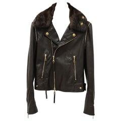 Louis Vuitton Brown Leather Mink Collar Biker Jacket