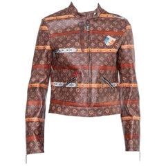 Louis Vuitton Brown Leather Miss France Trunk Monogram Jacket S