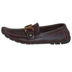Louis Vuitton Brown Leather Monte Carlo Loafers Size 43