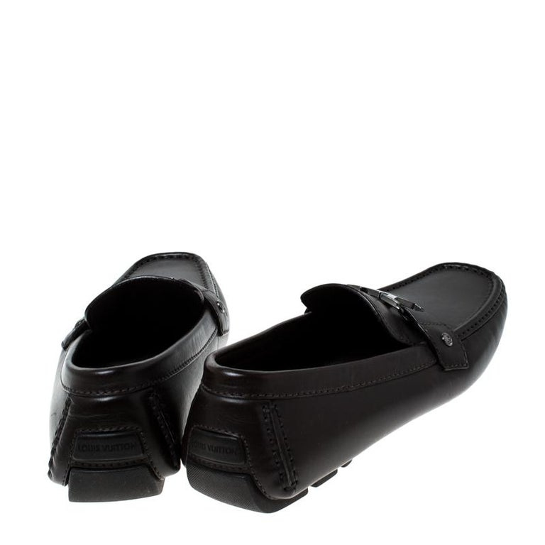 Black Louis Vuitton Brown Leather Monte Carlo Logo Slip On Loafers Size 43 For Sale