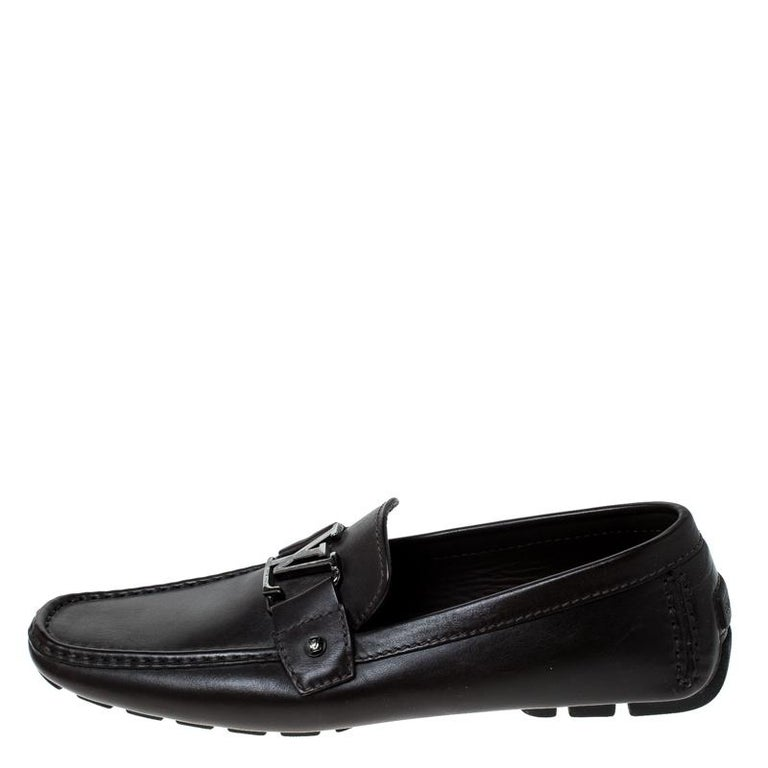 Men's Louis Vuitton Brown Leather Monte Carlo Logo Slip On Loafers Size 43 For Sale