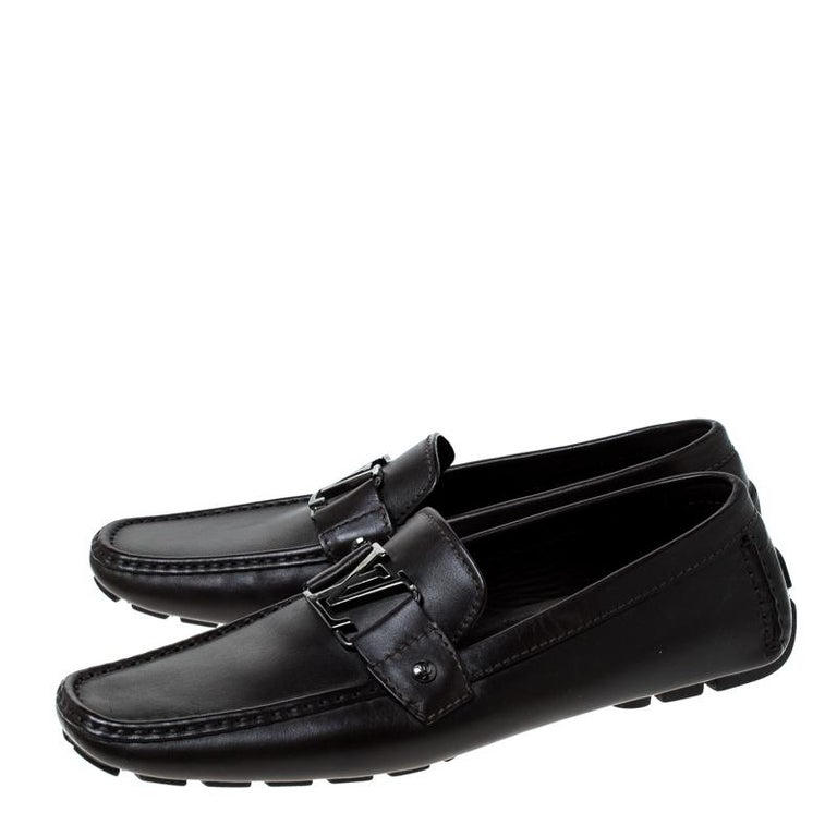 Louis Vuitton Brown Leather Monte Carlo Logo Slip On Loafers Size 43 For Sale 2