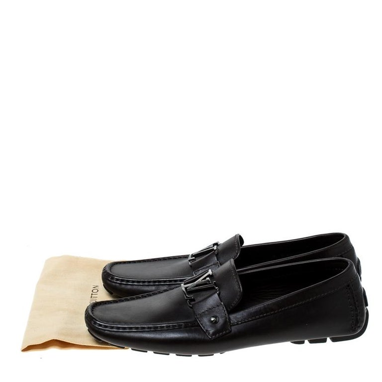 Louis Vuitton Brown Leather Monte Carlo Logo Slip On Loafers Size 43 For Sale 3