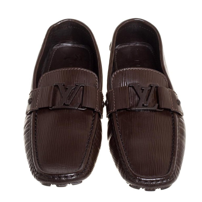 Black Louis Vuitton Brown Leather Monte Carlo Slip On Loafers Size 41.5 For Sale