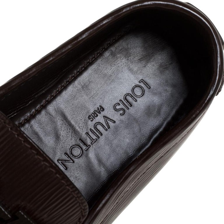 Men's Louis Vuitton Brown Leather Monte Carlo Slip On Loafers Size 41.5 For Sale