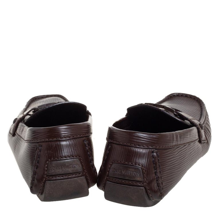 Louis Vuitton Brown Leather Monte Carlo Slip On Loafers Size 41.5 For Sale 1