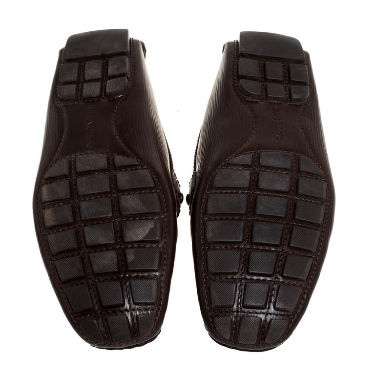 Louis Vuitton Brown Leather Monte Carlo Slip On Loafers Size 41.5 For Sale 2