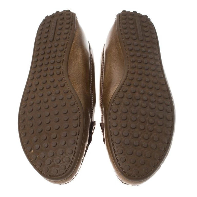 Women's Louis Vuitton Brown Leather Penny Loafers Size 38 For Sale
