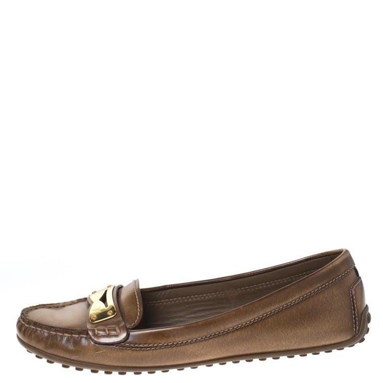 Louis Vuitton Brown Leather Penny Loafers Size 38 For Sale 1