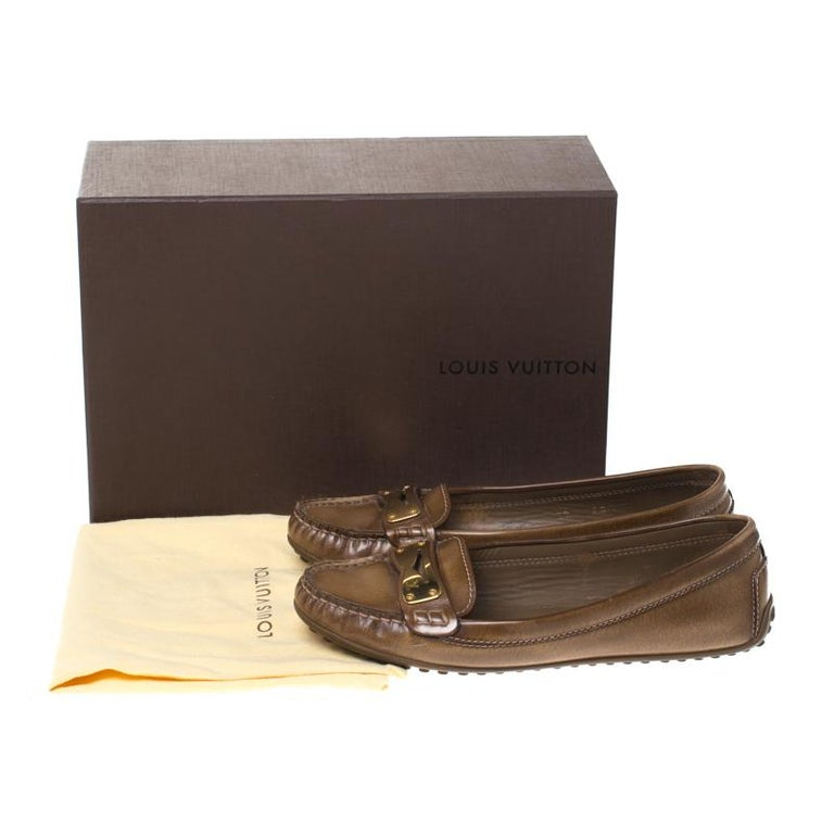 Louis Vuitton Brown Leather Penny Loafers Size 38 For Sale 4