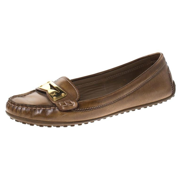 Louis Vuitton Brown Leather Penny Loafers Size 38 For Sale