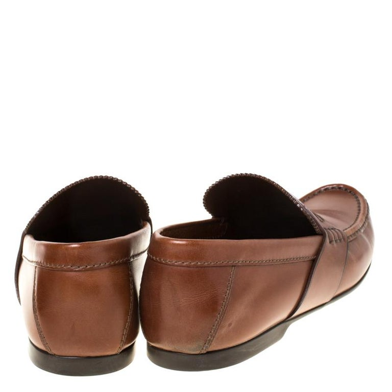 Louis Vuitton Brown Leather Penny Loafers Size 42.5 In Good Condition For Sale In Dubai, Al Qouz 2