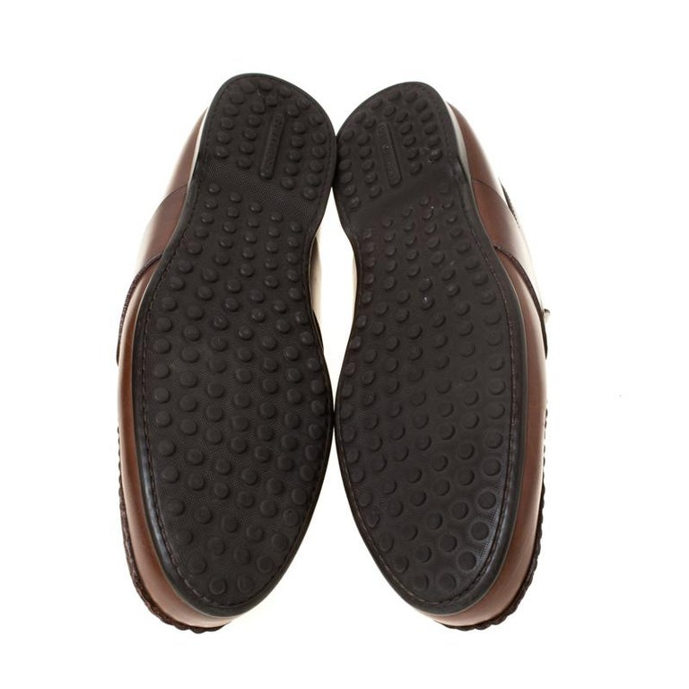Men's Louis Vuitton Brown Leather Penny Loafers Size 42.5 For Sale