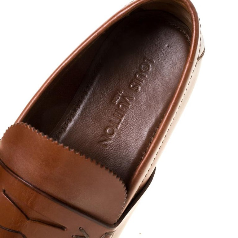 Louis Vuitton Brown Leather Penny Loafers Size 42.5 For Sale 1