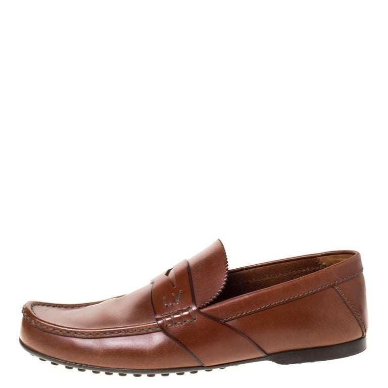 Louis Vuitton Brown Leather Penny Loafers Size 42.5 For Sale 2