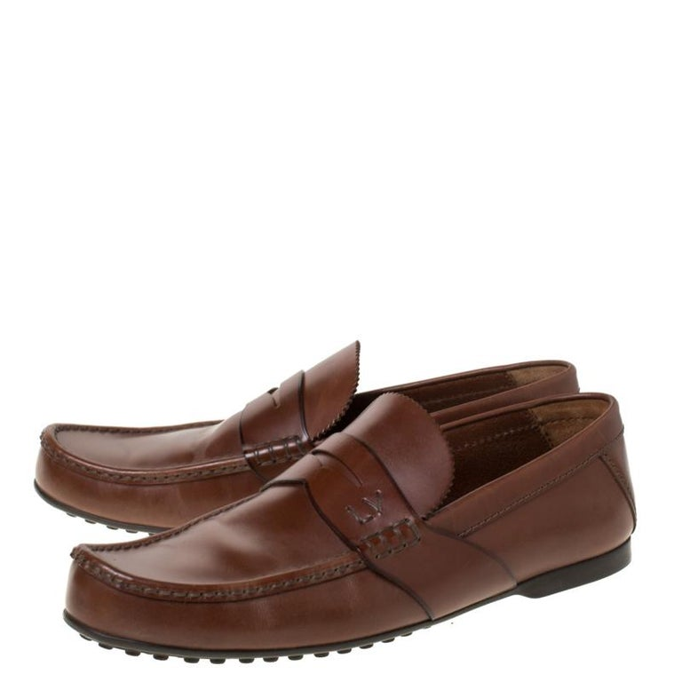 Louis Vuitton Brown Leather Penny Loafers Size 42.5 For Sale 3