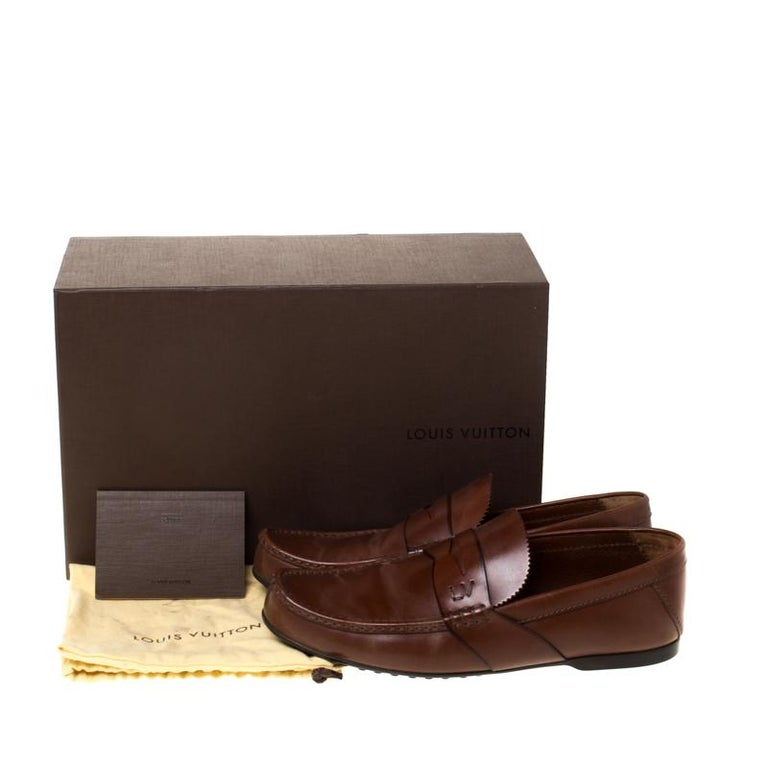 Louis Vuitton Brown Leather Penny Loafers Size 42.5 For Sale 4