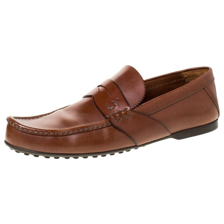 Louis Vuitton Brown Leather Penny Loafers Size 42.5 For Sale
