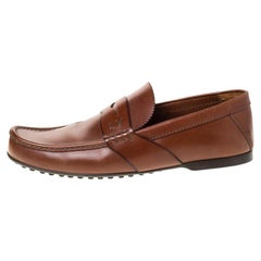 Louis Vuitton Brown Leather Penny Loafers Size 42.5