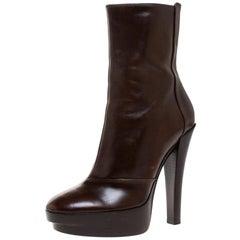 Louis Vuitton Brown Leather Platform Ankle Boots Size 37.5