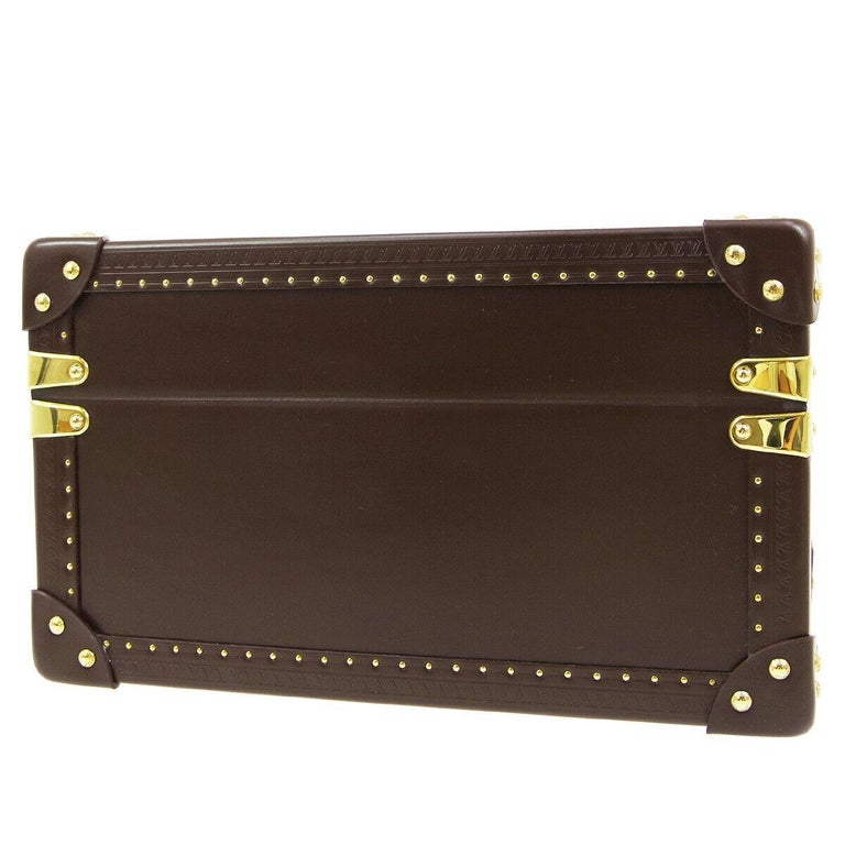 Women's Louis Vuitton Brown Leather Travel Watch Men's Top Handle Storage Box Trunk For Sale