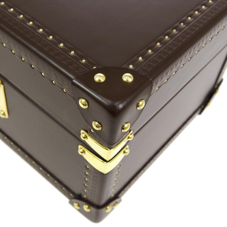 Louis Vuitton Brown Leather Travel Watch Men's Top Handle Storage Box Trunk For Sale 1