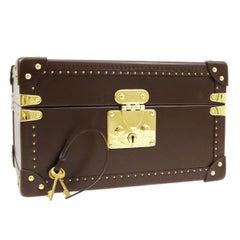 Louis Vuitton Brown Leather Travel Watch Men's Top Handle Storage Box Trunk