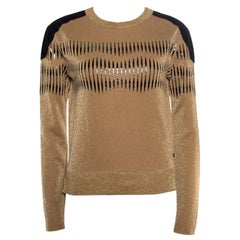 Louis Vuitton Brown Lurex Knit Contrast Suede Detail Cropped Sweaters XS