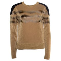 Louis Vuitton Brown Lurex Knit Contrast Suede Shoulder Patch Cropped Sweater XS