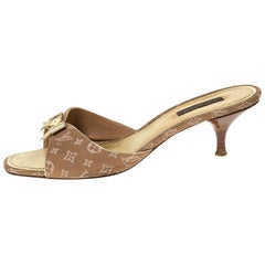 Louis Vuitton Brown Mini Lin Canvas Bow Slide Sandals Size 39