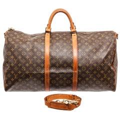 Louis Vuitton Brown Monogram Bandouliere Keepall 60cm Weekend/Travel Bag