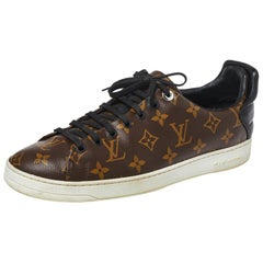 Louis Vuitton Brown Monogram Canvas and Black Leather Frontrow Low Top Size 42.5