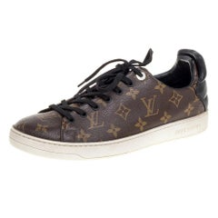 Louis Vuitton Brown Monogram Canvas and Black Leather Low Top Sneakers  Size 41