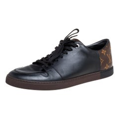 Louis Vuitton Brown Monogram Canvas and Black Leather Low Top Sneakers Size 42