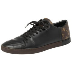 Louis Vuitton Brown Monogram Canvas and Black Leather Low Top Sneakers Size 42.5