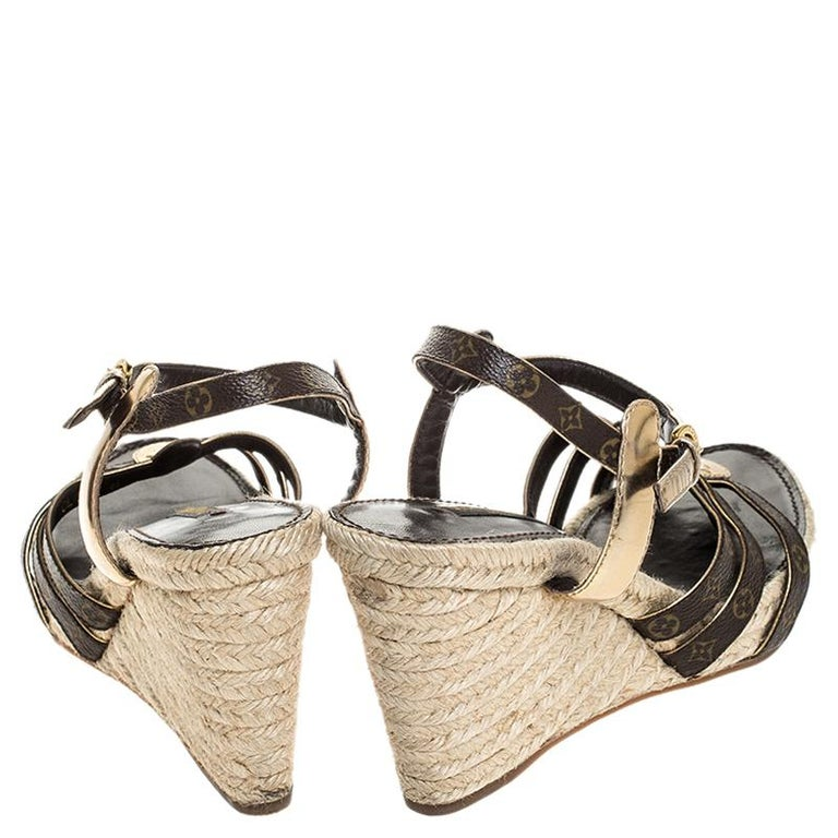 Women's Louis Vuitton Brown Monogram Canvas And Gold Leather Espadrille Wedges Size 41 For Sale
